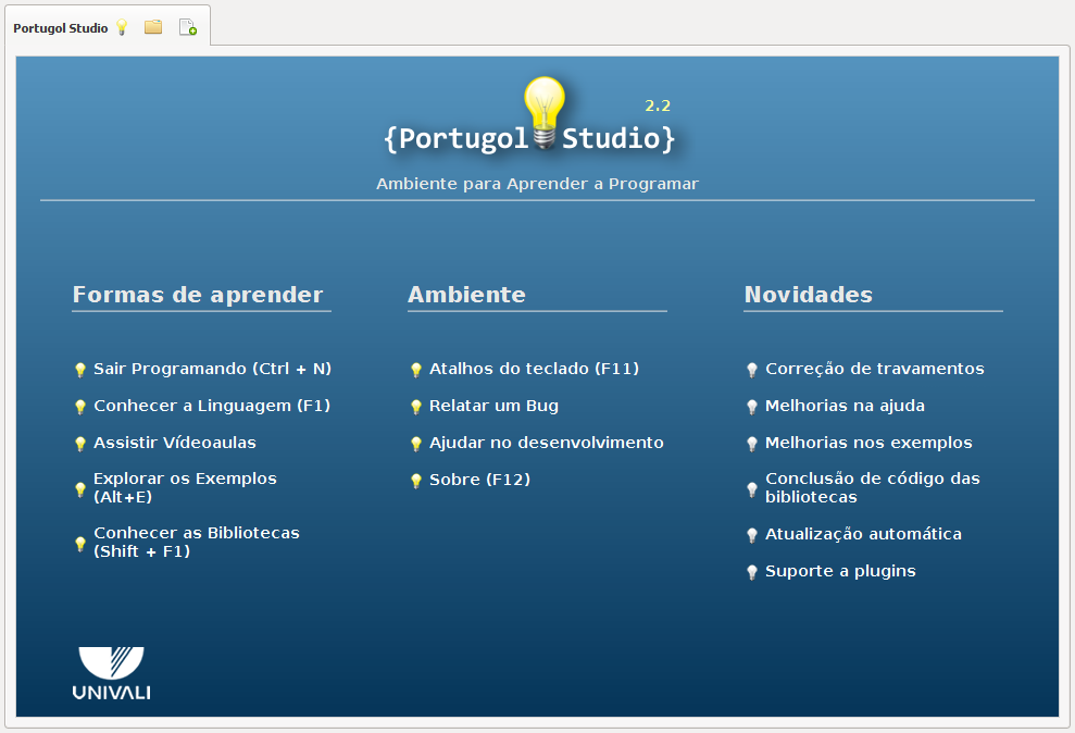 Tela Inicial do Portugol Studio