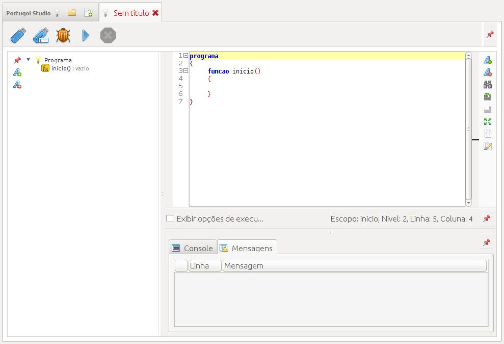 Tela de Programação do Portugol Studio