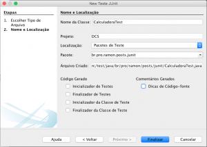 Tela de Criação de um Teste de Unidade no NetBeans