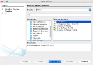 Tela de Novo Arquivo do NetBeans com um Novo Teste de Unidade selecionado.