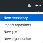 """Menu """"New repository"""" no GitHub"""