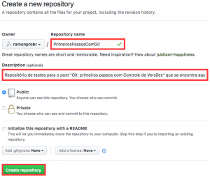 "Tela ""Create a new repository"" do GitHub"