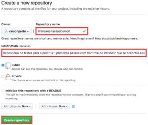 "Tela ""Create a new repository"" do GitHub"